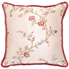 "Cornelia Fringe Edge 18"" Square Flower Decorative Pillow"