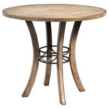 Counter Height Round Wood Dining Table Desert Tan Finish Wood Dark