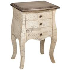 Sabrina Antique White French Fabric End Table