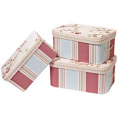 Set of 3 Cornelia Rectangle Striped Decorative Boxes