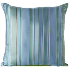"Fresca Green / Blue 18"" Square Silk Decorative Pillow"