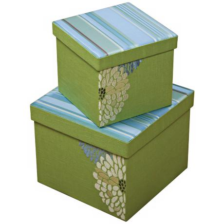 Set of 2 Fresca Square Embroidered Decorative Boxes