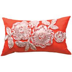 Ruffled Flower Orange Lumbar Decorative Pillow