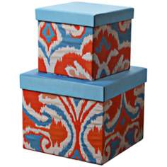 Set of 2 Ikat Orange / Blue Square Decorative Boxes