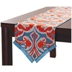 "Ikat Orange / Blue 90"" Long Table Runner"