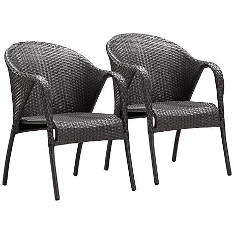 Zuo Modern Montezuma Weave Outdoor Armchair Set of 2