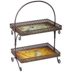 Two-Tier Bird Motif Metal and Glass Tray