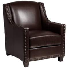 Justin Faux Leather Mahogany Armchair