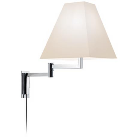 Sonneman Square Polished Chrome Plug-In Swing Arm Wall Lamp