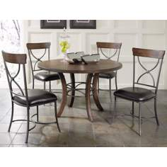 Hillsdale Cameron Round Wood X-Back 5-Piece Dining Set