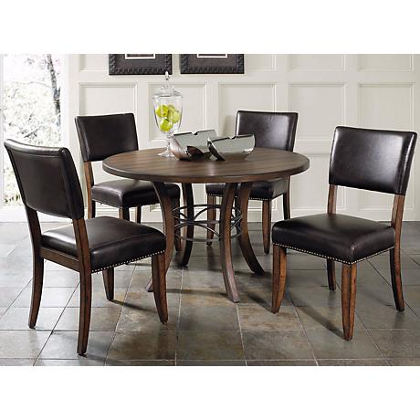 Hillsdale Cameron Round Wood Parsons 5-Piece Dining Set