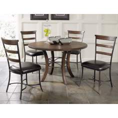 Hillsdale Cameron Round Wood Ladder Chair 5-Piece Dining Set