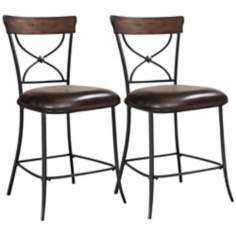 Hillsdale Cameron Set of 2 X-Back Non-Swivel Counter Stools