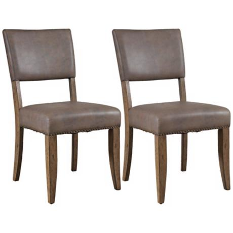 Hillsdale Charleston Set of 2 Brown Parsons Dining Chairs