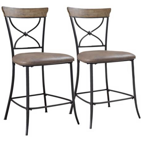 Hillsdale Charleston Set of 2 X-Back Metal Counter Stools