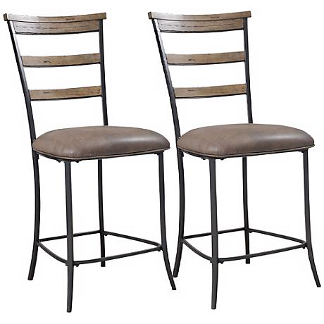 "Hillsdale Charleston 26"" Ladder-Back Counter Stool Set of 2"