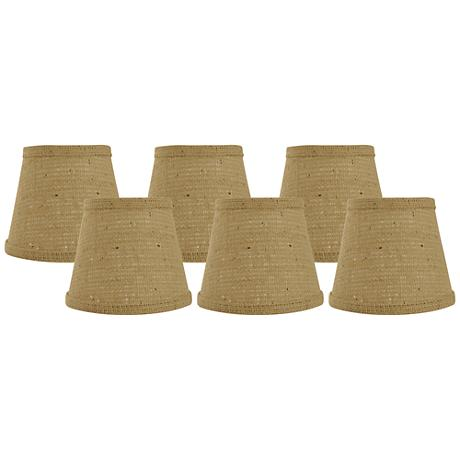 Set of 6 Natural Burlap Shades 4x6x5.25 (Clip-On)