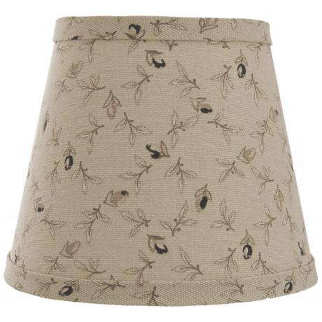 Taupe with Black Rosebuds Lamp Shade 8x14x10.25 (Spider)