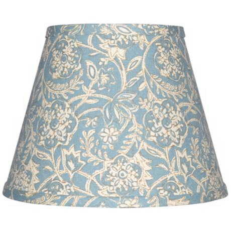 Spa Blue with Cream Floral Lamp Shade 8x14x10.25 (Spider)