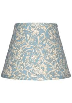 Spa Blue with Cream Floral Lamp Shade 10x18x13 (Spider)