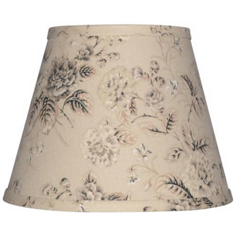 Tan with Black and Gray Floral Lamp Shade 6x12x8 (Spider)