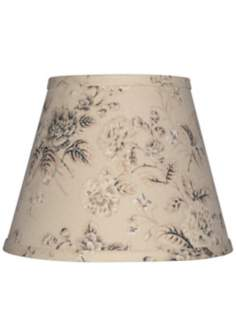 Tan with Black and Gray Floral Lamp Shade 10x18x13 (Spider)