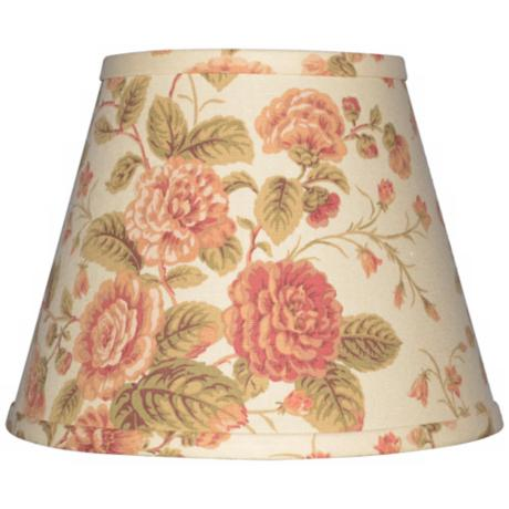 Cream with Large Floral Lamp Shade 9x16x12 (Spider)