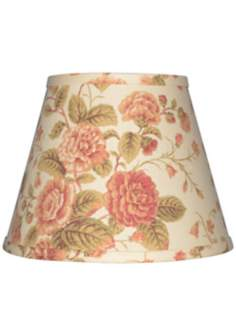 Cream with Large Floral Lamp Shade 10x18x13 (Spider)