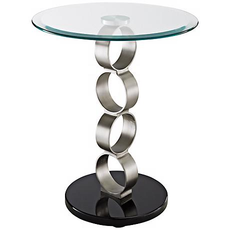 Draper Glass and Metal Circular Occasional Table