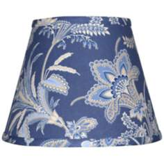 Set of 6 Indigo Jacobean Lamp Shades 4x6x5.25 (Clip-On)