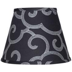 Black with Gray Scroll Lamp Shade 6x12x8 (Spider)