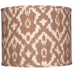 Camel and Cream Ikat Lamp Shade 14x14x11 (Spider)