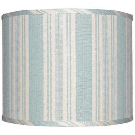 Blue with Cream Stripe Lamp Shade 12x12x10 (Spider)