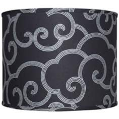 Black with Gray Scroll Lamp Shade 14x14x11 (Spider)