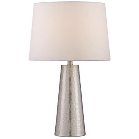 Silver Leaf Hammered Metal Cylinder Table Lamp