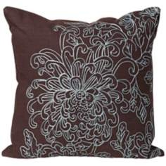 "Kimiki Flower 18"" Embroided Brown and Blue Designer Pillow"