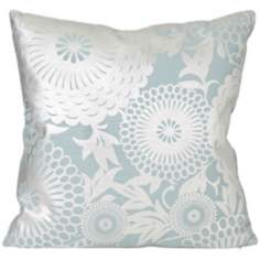 "Shiny Flower 18"" Square Metallic Blue Designer Pillow"