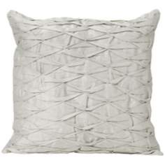 "Diamond-Tucked Stitch 18"" Square Silver Designer Pillow"