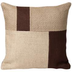 "Jute 18"" Square Block Designer Pillow"