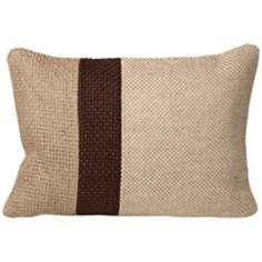 "Jute 20"" Wide Rectangular Block Designer Pillow"