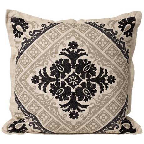 "Reflection 18"" Square Black Designer Pillow"