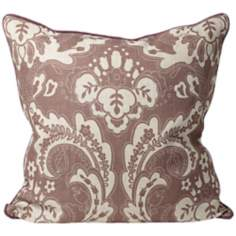 "Deluxe Purple Floral 22"" Square Decorative Throw Pillow"