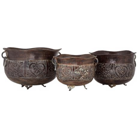 Set of 3 Black Metal Planters with Handles