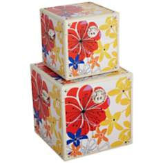 Set of 2 Bright Floral Canvas Wood Boxes