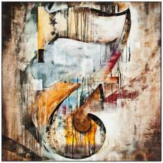 "San Fermin B 24"" Square Framed Laminate Abstract Wall Art"