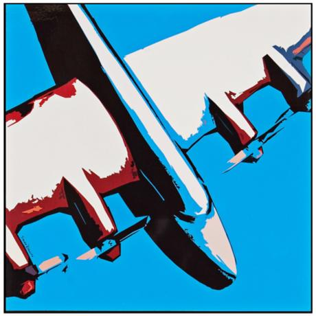 "Red White and Blue B-52 18"" Square Framed Airplane Wall Art"