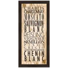"White Wine Types A 22 1/2"" High Framed Wine Wall Art"