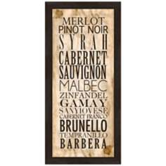 "Red Wine Types B 22 1/2"" High Framed Wine Wall Art"
