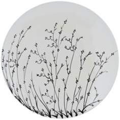 "Black and White 18"" Wide Decorative Flower Plate"