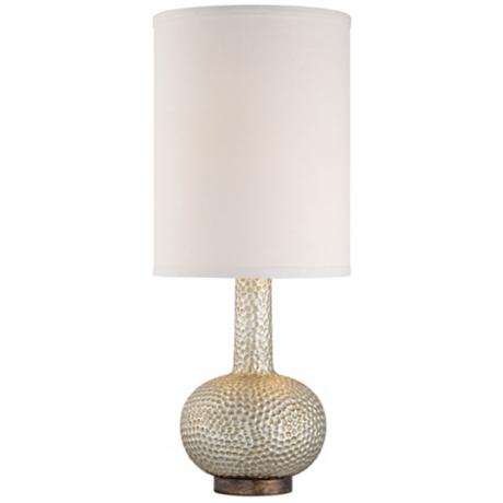 Hammered Silver Leaf Table Lamp with Cylinder Shade